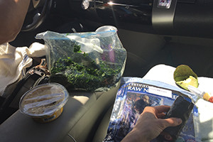 image shows nori wraps, avocado, kale salad and other healthy food items from the article