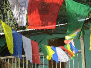 image shows peace flags at the retreat location