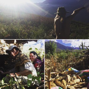 image shows permaculture teacher Anthony Bossler and corn harvest from permaculture farm